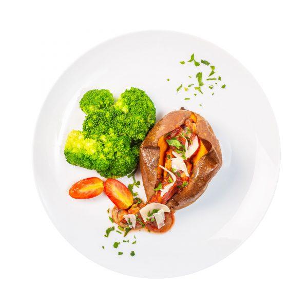 Mushroom Bolognese Stuffed Sweet Potato